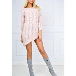 Tuniki damskie: Asymetryczna swetrowa tunika kardigan z warkoczem