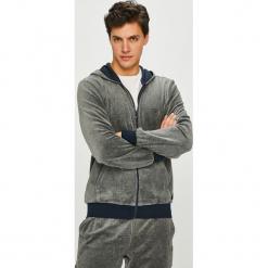 Emporio Armani - Bluza. Szare bluzy męskie rozpinane marki Emporio Armani, l, z nadrukiem, z bawełny, z okrągłym kołnierzem. Za 599,90 zł.