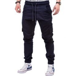 Spodnie męskie: SPODNIE MĘSKIE JOGGERY P333 – GRANATOWE