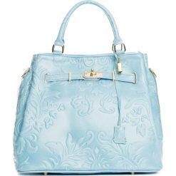 Torebki klasyczne damskie: Skórzana torebka w kolorze błękitnym – 40 x 21 x 31 cm