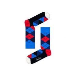 Skarpetki Happy Socks - Argyle (AR01-067). Niebieskie skarpetki męskie Happy Socks, w kolorowe wzory, z bawełny. Za 34,90 zł.