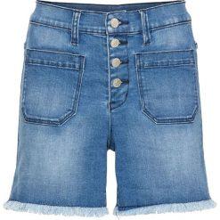 Szorty dżinsowe z wysoką talią bonprix niebieski bleached. Niebieskie bermudy damskie bonprix, z jeansu. Za 109,99 zł.