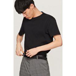T-shirty męskie: Jednolity t-shirt – Czarny