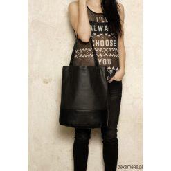 Shopper bag damskie: Shopper XL torba czarna perforowana codzienna