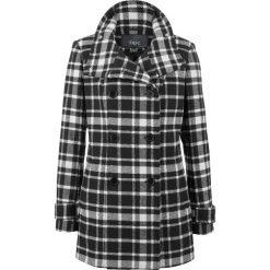 Odzież damska: Płaszcz z materiału w optyce wełny w kratę bonprix czarno-biały w kratę