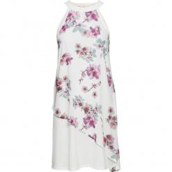 Sukienka z nadrukiem dookoła bonprix biały z nadrukiem. Białe sukienki letnie bonprix, z nadrukiem, z szyfonu. Za 99,99 zł.