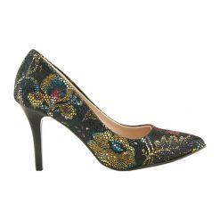 Buty ślubne damskie: Skórzane czółenka w kolorze czarnym ze wzorem