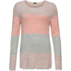 Sweter z przędzy z długim włosem w paski bonprix szaro-dymny jasnoróżowy w paski. Niebieskie swetry klasyczne damskie marki bonprix, z nadrukiem. Za 89,99 zł.