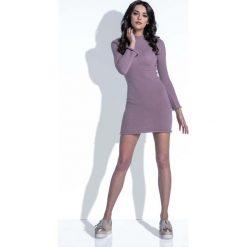 Sukienki dresowe: Mocca Sukienka Wełniana Dopasowana Mini