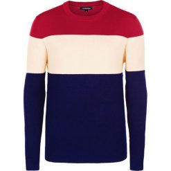 Swetry klasyczne męskie: Sweter w kolorze granatowo-kremowo-czerwonym