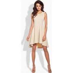 Sukienki: Elegancka rozkloszowana sukienka beżowy