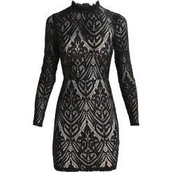 Sukienki: Missguided RUFFLE NECK LONG SLEEVE SHEER Sukienka koktajlowa black
