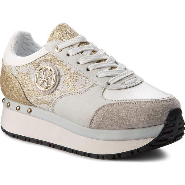 Genialny Sneakersy GUESS - Tiffany FLTIF1 LAC12 WHITE - Żółte sneakersy XA32