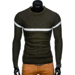 SWETER MĘSKI E131 - KHAKI. Brązowe swetry klasyczne męskie marki Inny, m. Za 49,00 zł.