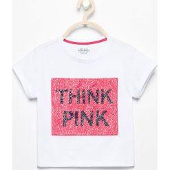 T-shirty damskie: T-shirt z dwustronnymi cekinami różowa pantera – Biały