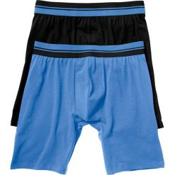 Długie bokserki (2 pary) bonprix czarny + niebieski. Czarne bokserki męskie bonprix, w paski. Za 45,98 zł.
