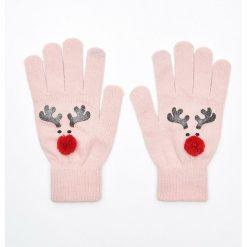 Rękawiczki damskie: Pięciopalczaste rękawiczki z aplikacją - Różowy