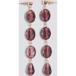Kolczyki damskie: NA-KD Classic Wiszące kolczyki z kolorowymi kamieniami – Purple