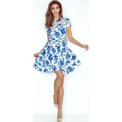 Kwiatowa Sukienka Rozkloszowana Midi z Tiulowymi Wstawkami. Białe sukienki mini marki Molly.pl, na co dzień, l, z elastanu, eleganckie, z krótkim rękawem, dopasowane. Za 199,90 zł.