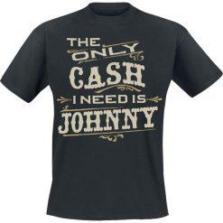 Johnny Cash The Only Cash T-Shirt czarny. Czarne t-shirty męskie z nadrukiem Johnny Cash, s, z okrągłym kołnierzem. Za 74,90 zł.