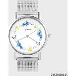 Biżuteria i zegarki: Zegarek - Wianek, motyle - metalowy