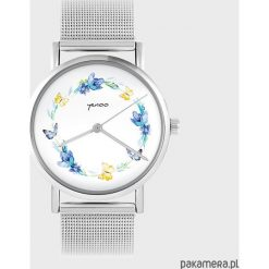 Zegarki damskie: Zegarek - Wianek, motyle - metalowy