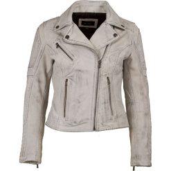 Bomberki damskie: Skórzana kurtka w kolorze szarym