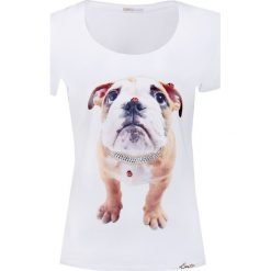 Bluzki, topy, tuniki: T-shirt EAN13 BULLDOG Biały Print