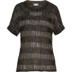Swetry klasyczne damskie: Sweter ażurowy bonprix czarno-złoty