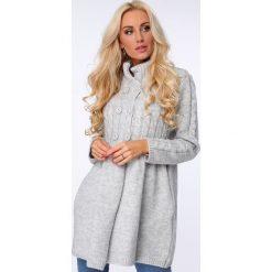 Swetry rozpinane damskie: Sweter zapinany na guziki jasnoszary MISC005