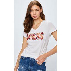 Guess Jeans - Top. Szare topy damskie Guess Jeans, l, z aplikacjami, z bawełny. Za 259,90 zł.