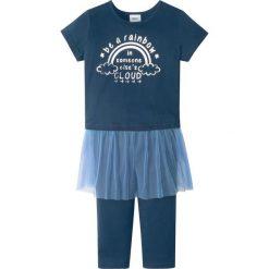 Legginsy dziewczęce: Shirt z tiulową wstawką + legginsy 3/4 (2 części) bonprix ciemnoniebieski