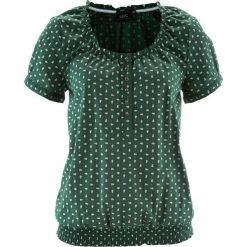 Bluzka ludowa z nadrukiem, krótki rękaw bonprix ciemnozielony w kwiaty. Zielone bluzki z odkrytymi ramionami bonprix, w kwiaty, z krótkim rękawem. Za 59,99 zł.