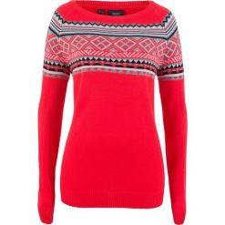Sweter wzorzysty bonprix truskawkowy wzorzysty. Czerwone swetry klasyczne damskie bonprix. Za 74,99 zł.