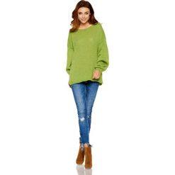 Swetry damskie: Sweter z wyjątkowymi rękawami zielony ANGEL