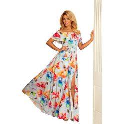 Kwiecista Maxi Sukienka z Hiszpańskim Dekoltem. Niebieskie długie sukienki marki bonprix, na spacer, na lato, w koronkowe wzory, z bawełny, dopasowane. Za 362,90 zł.