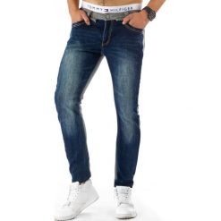 Spodnie dresowe męskie: Spodnie męskie jeansowo-dresowe niebiesko-szare (ux0279)