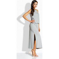 Długie sukienki: Długa elegancka sukienka z oryginalnym dekoltem jasnoszary