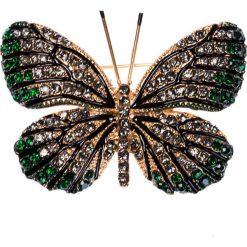 Apaszki damskie: Broszka motyl zielono-szara QUIOSQUE