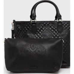 Desigual - Torebka. Brązowe torebki klasyczne damskie Desigual, w paski, z materiału, średnie, pikowane. Za 349,90 zł.