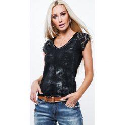 Bluzki damskie: Bluzka z z ozdobnymi rękawkami czarna ZZ1059