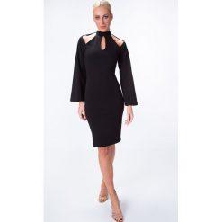 Sukienki hiszpanki: Sukienka z oryginalnym dekoltem czarna 6509
