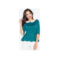 Bluzka M161 Zielony. Zielone bluzki damskie marki FIGL, m, klasyczne, z klasycznym kołnierzykiem, z długim rękawem. Za 79,00 zł.
