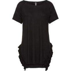 T-shirt z falbaną bonprix czarny. Czarne t-shirty damskie bonprix. Za 27,99 zł.