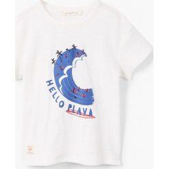 Mango Kids - T-shirt dziecięcy Luna 110-164 cm. Białe t-shirty chłopięce z nadrukiem Mango Kids, z bawełny, z okrągłym kołnierzem. Za 35,90 zł.