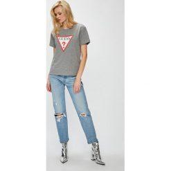 Guess Jeans - Top. Szare topy damskie Guess Jeans, m, z aplikacjami, z bawełny, z okrągłym kołnierzem. Za 189,90 zł.