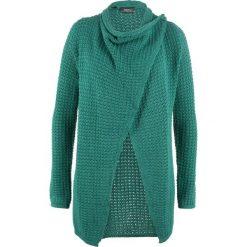 Sweter rozpinany w strukturalny wzór bonprix dymny szmaragdowy. Niebieskie kardigany damskie bonprix. Za 99,99 zł.
