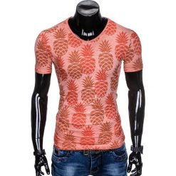 T-SHIRT MĘSKI Z NADRUKIEM S886 - POMARAŃCZOWY. Brązowe t-shirty męskie z nadrukiem Ombre Clothing, m. Za 39,00 zł.