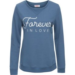 Bluza dresowa, długi rękaw bonprix niebieski dżins z nadrukiem. Niebieskie bluzy rozpinane damskie bonprix, z nadrukiem, z dresówki, z długim rękawem, długie. Za 59,99 zł.