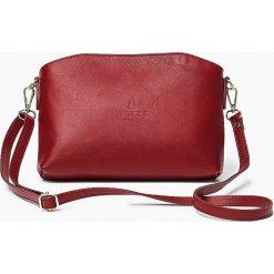 Skórzana Włoska czerwona torebka listonoszka MELANIA. Czerwone torby na ramię męskie Vera Pelle, w paski, ze skóry, małe. Za 179,00 zł.